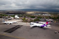 Airport of Kona, Big Island, Hawaii. Aerial view of the airport of Kona, Big Island, Hawaii, USA royalty free stock photography