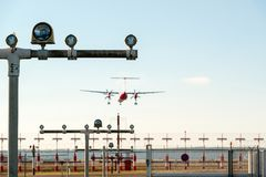 Airport landing lights royalty free stock images