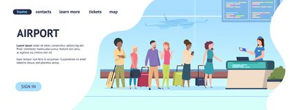 Airport landing page. Passenger terminal queue departure arrival gate, airlines check boarding. Online registration royalty free illustration