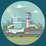 Airport landscape. Travel Lifestyle Concept of Planning a Summer Royalty Free Stock Photo