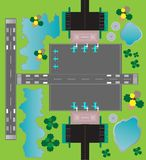 Airport Layout top View  Twin runway parking taxiway and Buildin Stock Images