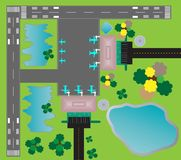 Airport Layout top View  Twin runway parking taxiway and Buildin Stock Image