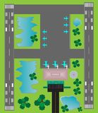 Airport Layout top View  Twin runway parking taxiway and Building Stock Photo