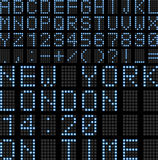Airport Led Display Board. Illustration featuring font - letters and numbers of a digital led display board. Usable for airport schedules, train timetables etc Stock Image
