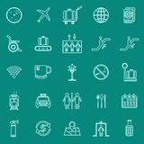 Airport line color icons on green background Stock Images