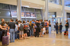 Airport line at the gate. Passengers standing in line at the gate of Tel Aviv Airport (TLV or Ben Gurion Airport) on their way to summer vacation on August 18 Stock Images