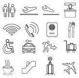 Airport line icons set Royalty Free Stock Photography