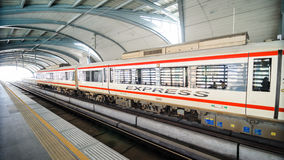 Bangkok, Thailand: Airport Link express train at a. Airport Link express train parking at Payathai station in Bangkok, Thailand. The train travels on an elevated Royalty Free Stock Images