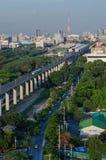 Airport Link train in Bangkok, Thailand. Top view Stock Photos
