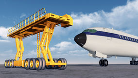 Airport loader and airliner Royalty Free Stock Images