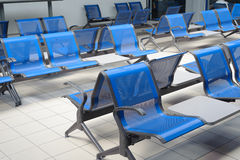 Airport lobby. Empty airport lobby, blue seat Stock Photo