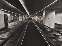 Airport. Long corridor in the aeroport surreal Stock Photo