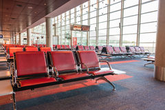 Airport Longe at Eziza, Buenos Aires. Red leather seats. Royalty Free Stock Images