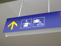 Airport lost-and-found and baggage check signs. Airport signboard for lost and found and baggage check Royalty Free Stock Photo