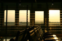 Airport Lounge. Aiprot Lounge at sunset in Sweden Royalty Free Stock Photo