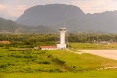Airport of Luang Probang, Laos. LUANG PRABANG, LAOS - SEP 26, 2014: Aerial view of the Luang Prabang International Airport. Since 2013 it's capable to recieve Royalty Free Stock Image