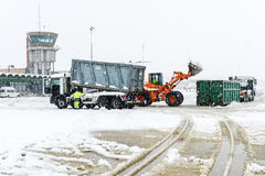 Airport Lugano Agno under the snow Royalty Free Stock Photo