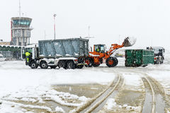 Airport Lugano Agno under the snow Stock Photography