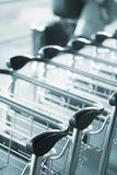 Airport luggage trolleys for baggage Stock Photography