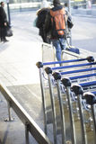 Airport luggage trolleys for baggage Stock Photos