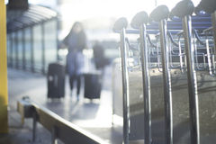 Airport luggage trolleys for baggage Royalty Free Stock Photo