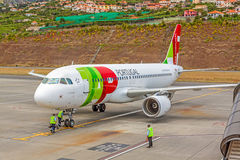Airport Madeira - Airbus A320 Stock Photo