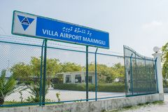 Airport main entrance gates at the tropical island Maamigili. Airport main entrance gates located at the tropical island Maamigili in Maldives royalty free stock images