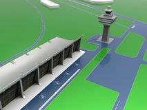 Airport main terminal illustration. 3D render illustration of an airport main terminal Stock Photos
