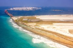 Airport Maldives Male city island aerial photo. Sea royalty free stock photography