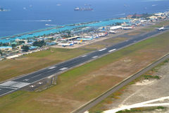 Airport at Male, Maldives. Male, Maldives - February 4, 2016: Many airlines arrive and depart from Ibrahim Nasir International Airport, Male, Maldives Stock Photo