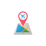 Airport map pointer flat icon, mobile gps Stock Images