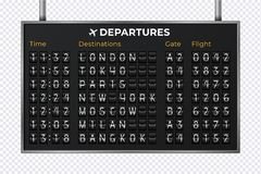 Free Airport Mechanical Scoreboard. Realistic Equipment Board Message Departures And Arrivals Flight. Flipping Departure Stock Photo - 164129710