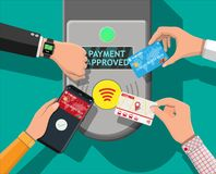 Airport, metro, bus, subway ticket validator. Hands with transport card, smartphone, smartwatch and bank card near terminal. Airport, metro, bus, subway ticket Stock Photography
