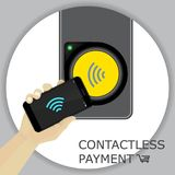 Airport, metro, subway ticket terminal for wireless payments. RF. ID. Hand holding smartphone for transport payment gate. Contactless. Vector Royalty Free Stock Images
