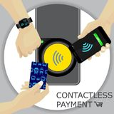 Airport, metro, subway ticket terminal for wireless payments. RF. ID. Hand holding card, smartphone, smartwatch for transport payment gate. Contactless. Vector Stock Photography