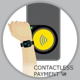 Airport, metro, subway ticket terminal for wireless payments. RF. ID. Hand with smartwatch for transport payment gate. Contactless. Vector Royalty Free Stock Photos