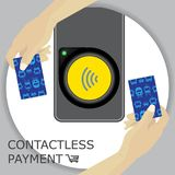 Airport, metro, subway ticket terminal for wireless payments. RF. ID. Hands holding card for transport payment gate. Contactless. Vector Stock Photos