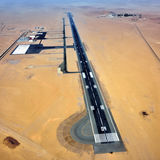 Airport in Namib desert. Aerial view on the runway of a small airfield in the Namib Desert in Swakopmund area, Namibia, Africa royalty free stock image