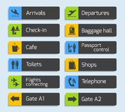 Airport Navigation Design Signboards Set Royalty Free Stock Images