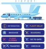 Jet plane boarding time and aiport navigational signs. Airport navigational electronic signs with english text and jet, baggage and iformation pictograms stock illustration