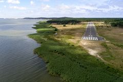 Airport of Nida. Airport on the sea coast of Nida city in Lithuania stock image
