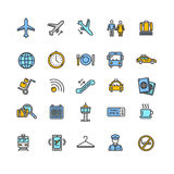 Airport Outline Colorful Icon Set. Vector Royalty Free Stock Photography