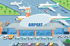 Airport on the outside. A vector illustration of airport on the outside vector illustration
