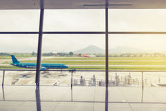 Airport outside the window scene Stock Photo