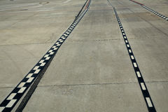 Airport paint floor signal lanes perspective Royalty Free Stock Photo