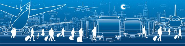 Airport panorama. Passengers enter and exit to the bus. Aviation travel transportation infrastructure. The plane is on the runway. Night city on background stock illustration