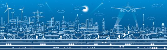 Airport panorama. Passengers go to the airplane. Aviation travel transportation infrastructure. The plane is on the runway. Night. City on background, vector vector illustration