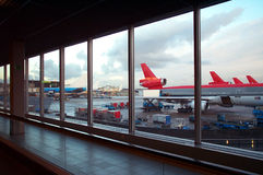 Airport parking. View from inside Orly airport, in Paris, France. Several huge airplanes waiting flight aproval royalty free stock photo