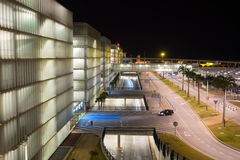 Airport parking area. Streets at various levels of access to parking buildings with night lighting Stock Photo