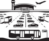 Airport parking transfer buses Royalty Free Stock Images